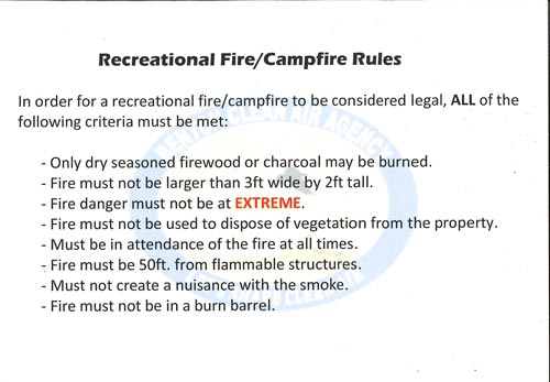 Recreational Fire / Campfire Rules