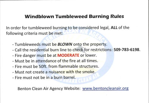 Windblown Tumbleweed Burning Rules